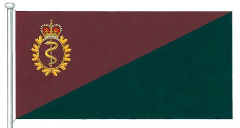 Flag of the Royal Canadian Medical Service.  Showing the colors Red and Green, for Blood and Health.  Posted Originally on sudburymatt.com for the Poem I Have Been